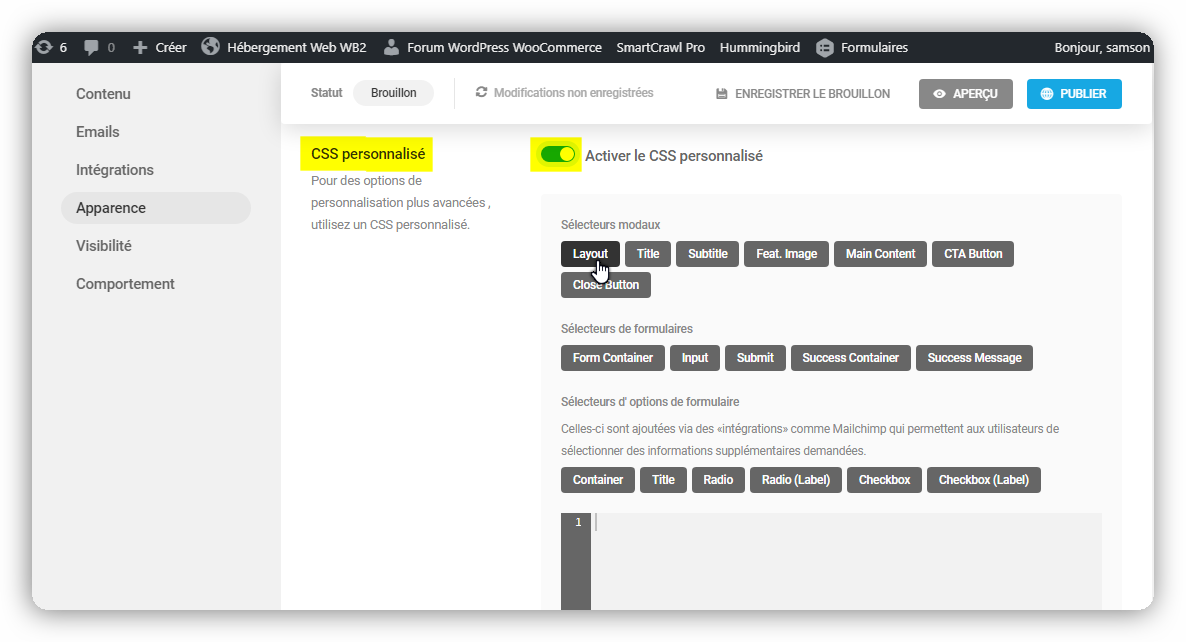 css personnalise