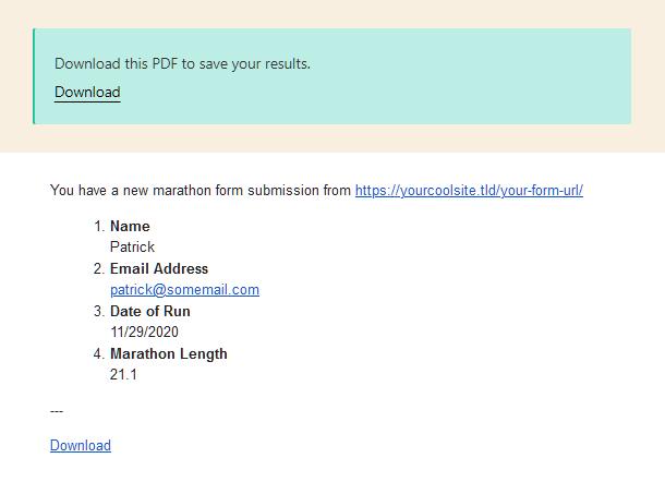 Lien de téléchargement PDF sous forme de message de réussite et par courrier électronique