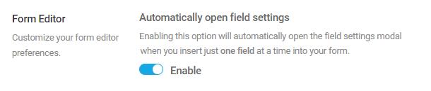 form editor settings