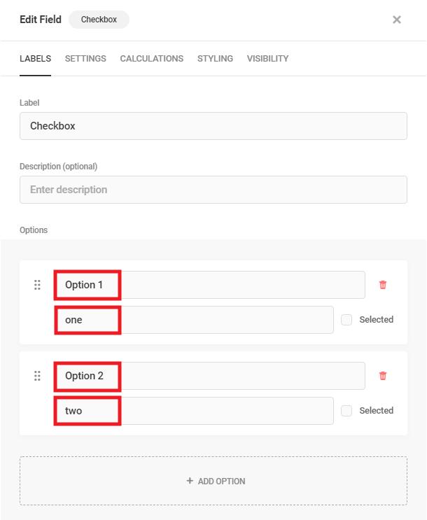 Modifier les étiquettes de champ de case à cocher dans Forminator