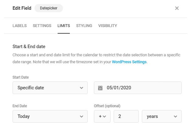 Définissez les dates de début et de fin dans le champ Forminator Datepicker