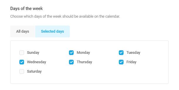 Définir les jours de la semaine disponibles dans le champ Forminator Datepicker