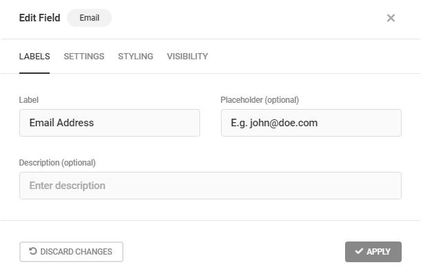 Modifier les étiquettes des champs d'e-mail dans Forminator