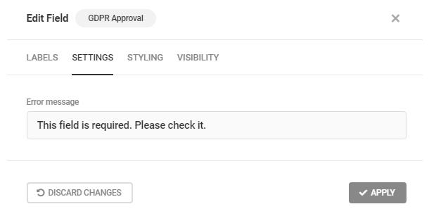 Modifier le message d'erreur GDPR dans un formulaire Forminator