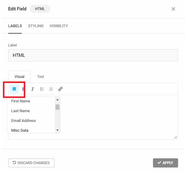 Utiliser des balises de fusion de formulaire Forminator dans un champ HTML