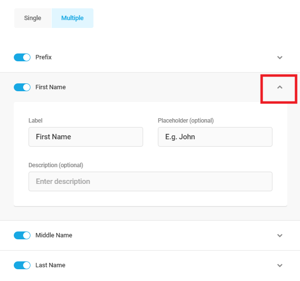 Utilisation de l'option de nom multiple pour le champ Nom de Forminator