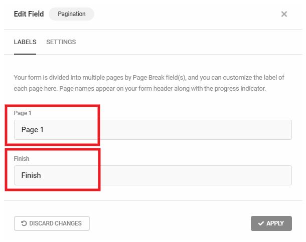 Étiquettes de pagination lorsque les sauts de page sont utilisés dans un formulaire Forminator