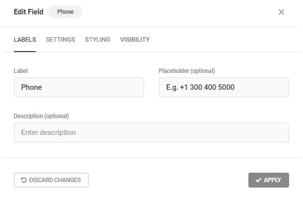 Modifier les étiquettes des champs de téléphone dans Forminator