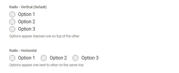 Exemples d'options d'alignement dans le champ radio Forminator