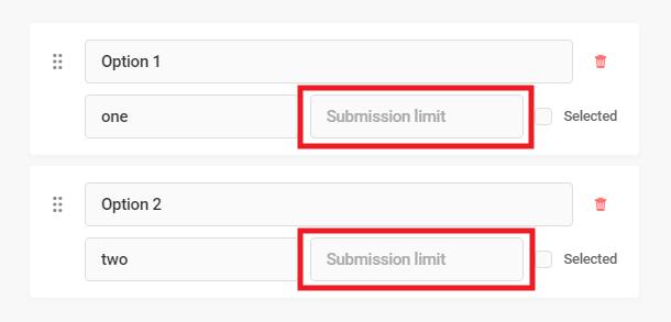 Définir la limite de soumission pour chaque option dans le champ Forminator Select