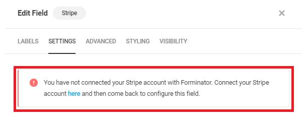 Alerte si aucun compte n'est connecté dans le champ Forminator Stripe