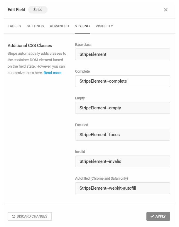 Modifier les classes CSS Stripe dans le champ Forminator Stripe