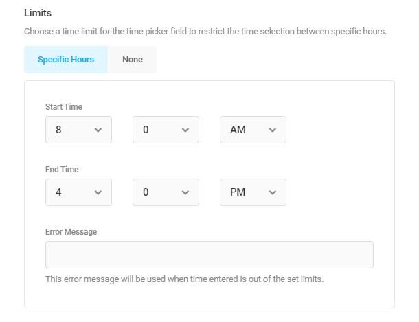 Définir les heures de début et de fin dans un champ Forminator Timepicker