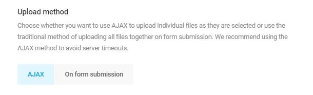 Sélectionnez la méthode de téléchargement dans le champ Téléchargement de fichier Forminator