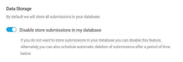 Désactiver le stockage des données pour le formulaire Forminator