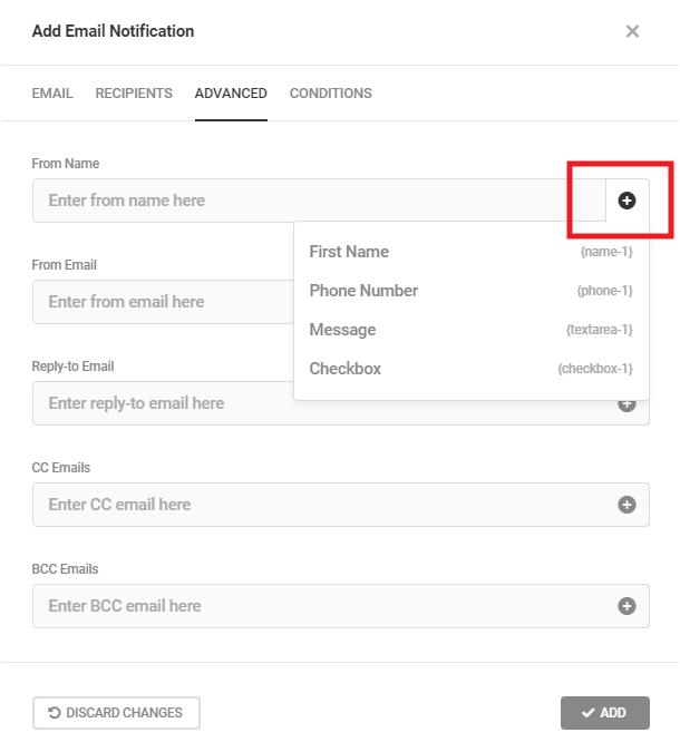 Options avancées pour les notifications par e-mail du formulaire Forminator