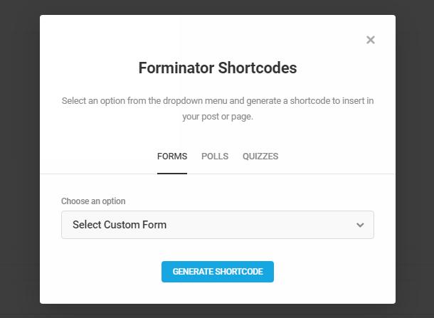 Sélectionnez le formulaire Forminator pour l'ajouter à une publication dans l'éditeur classique