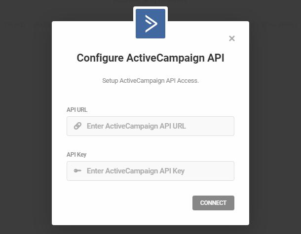 Entrez les informations d'identification de l'API ActiveCampaign pour l'intégration avec Forminator