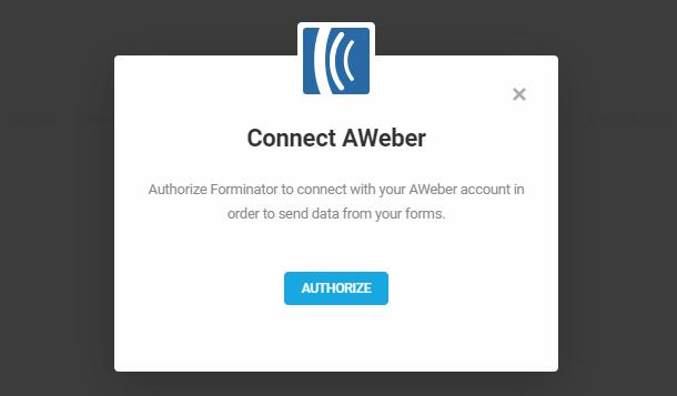 Autoriser Aweber pour l'intégration dans Forminator