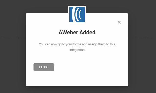 Aweber intégré avec succès dans Forminator