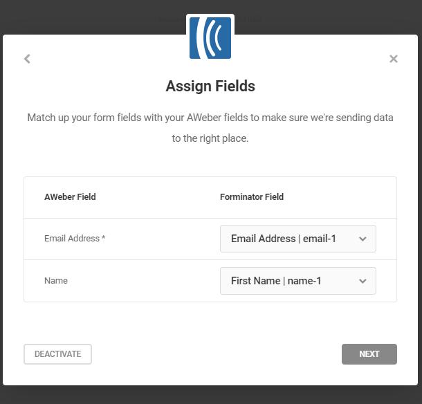 Attribuer des champs de liste pour l'intégration d'Aweber dans Forminator