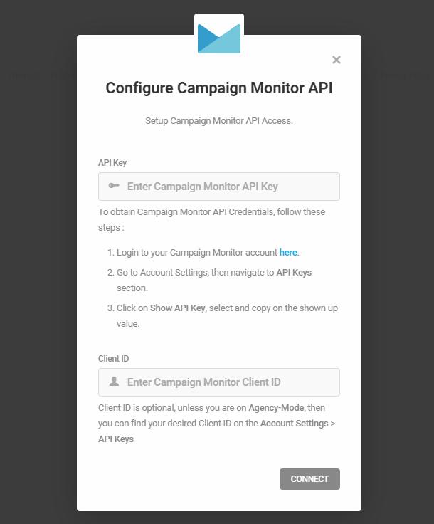 Entrez la clé API Campaign Monitor pour l'intégration avec Forminator