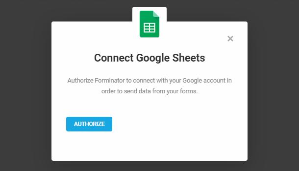 Autoriser l'intégration de feuilles Google dans Forminator