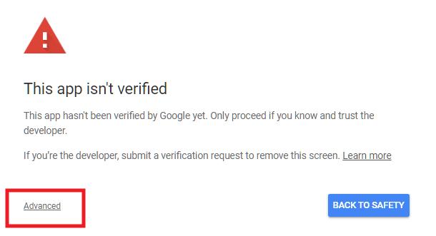 Alerte d'application non sécurisée de Google