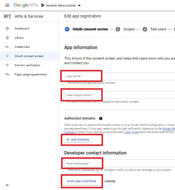 Écran de consentement Oauth chez Google