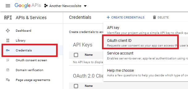 Créer des identifiants pour l'intégration de feuilles Google dans Forminator