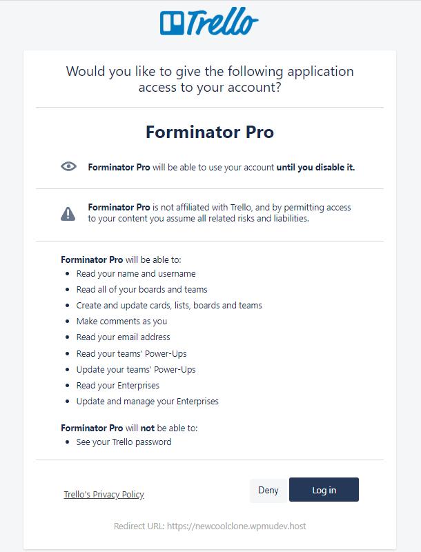 Autoriser Trello pour l'intégration dans Forminator