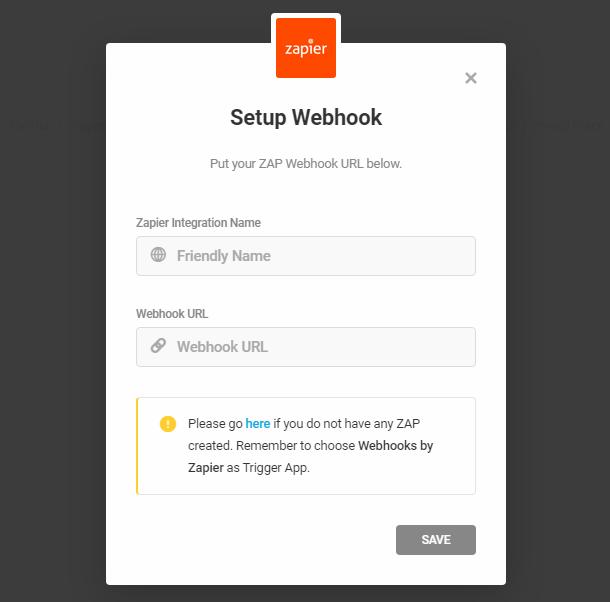 Entrez le webhook Zapier pour l'intégration dans le formulaire Forminator