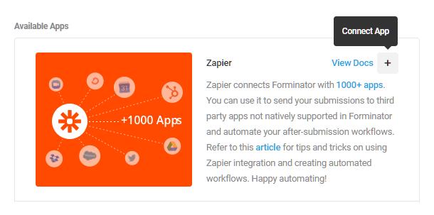 Intégrez Zapier dans Forminator