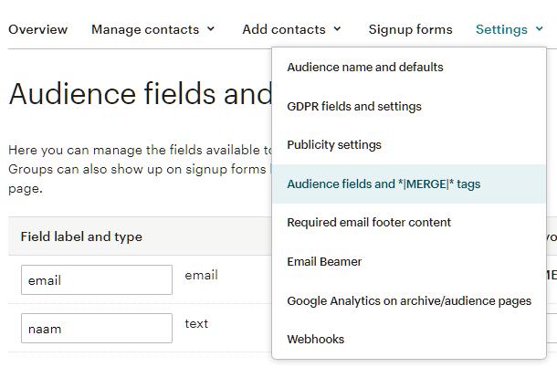 Champs de saisie d'audience dans l'intégration de MailChimp pour Forminator