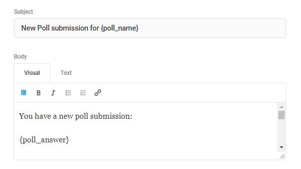 Personnaliser l'objet et le corps dans la notification par e-mail de sondage Forminator