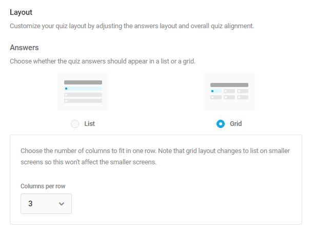 Personnaliser les options de mise en page dans le quiz Forminator