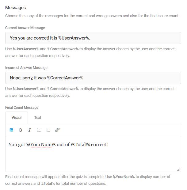 Personnaliser les messages dans un quiz Forminator