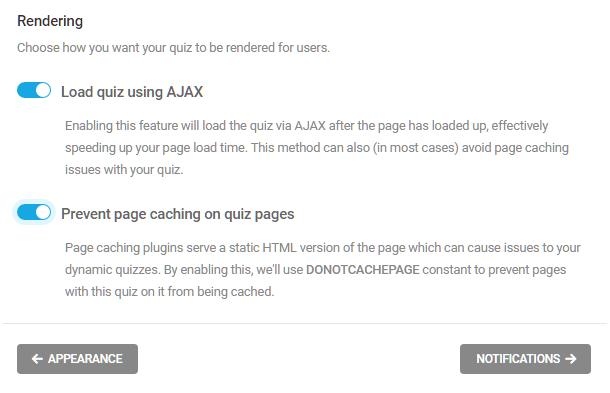 Sélectionnez comment rendre un quiz dans Forminator