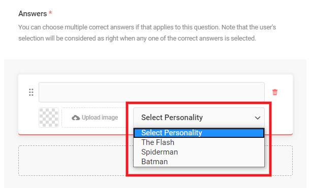 Associez une personnalité à une réponse dans un quiz Forminator