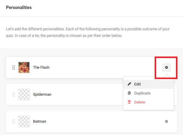 Modifier un résultat de personnalité dans un quiz dans Forminator