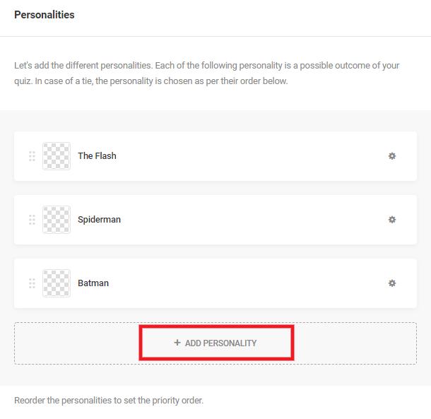 Ajouter un résultat de personnalité à un quiz dans Forminator