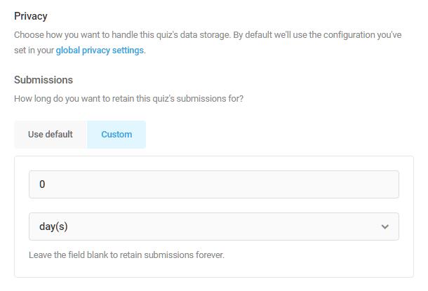 Définir la durée de stockage des données dans le quiz Forminator
