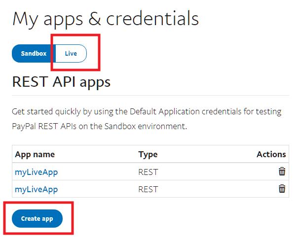 Obtenez des clés API PayPal en direct pour vous connecter à Forminator