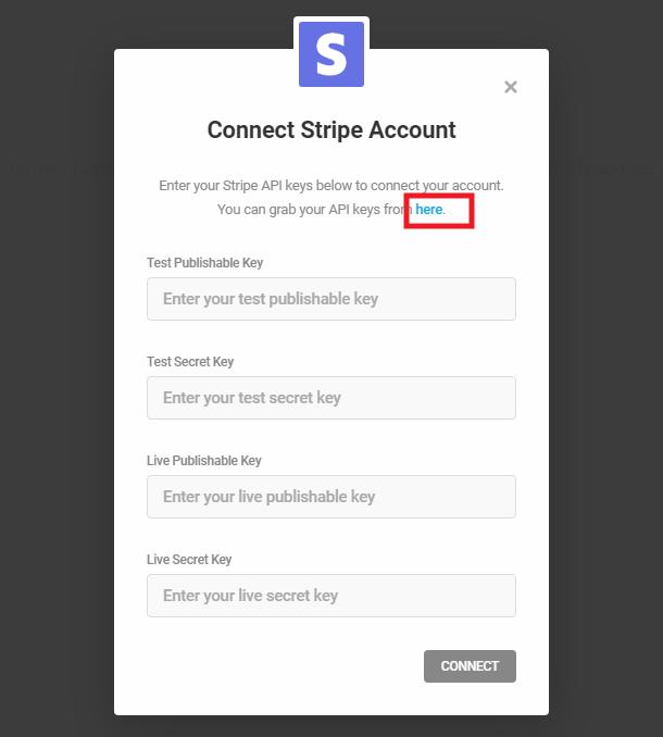Entrez les clés de l'API Stripe pour vous connecter à Forminator
