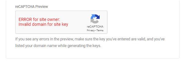 Google reCaptcha setup error message shown in Forminator