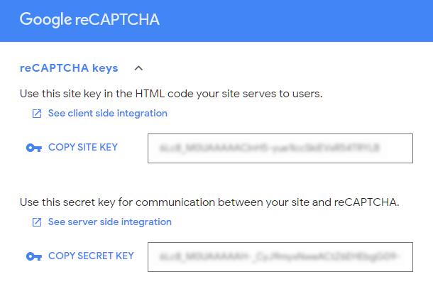 Get reCaptcha keys at Google