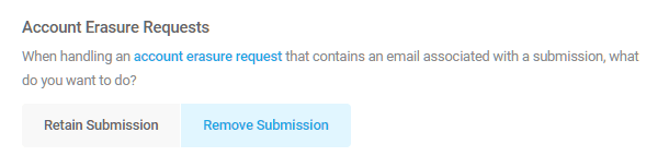 Account erasure options for Forminator form submissions
