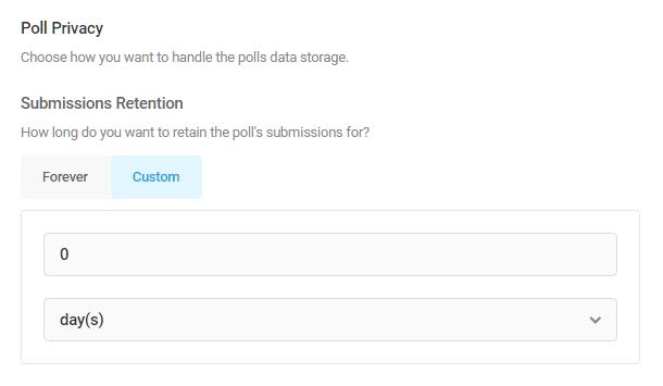 Définir la période de conservation des soumissions de sondages dans Forminator