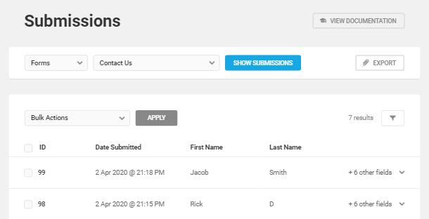 Afficher la liste des soumissions de formulaires dans Forminator