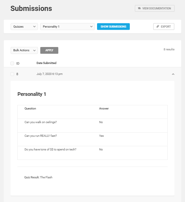 Afficher les détails d'une soumission de quiz dans Forminator